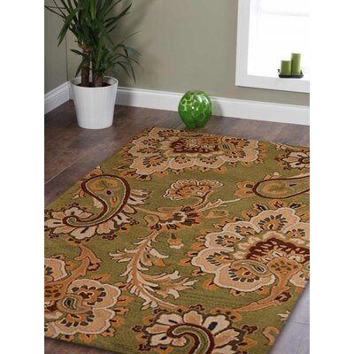 Addingrove Floral Hand-Tufted Wool Green Area Rug Rug Size: 9 x 12