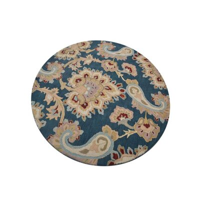 Dimondale Hand-Woven Wool Dark Blue Area Rug Rug Size: Round 10