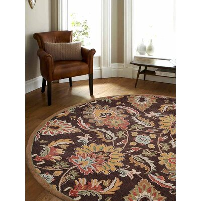 Abshire Floral Hand-Tufted Wool Brown Area Rug