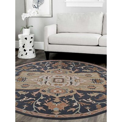Adams Vintage Hand-Tufted Wool Charcoal/Beige Area Rug Rug Size: Round 8