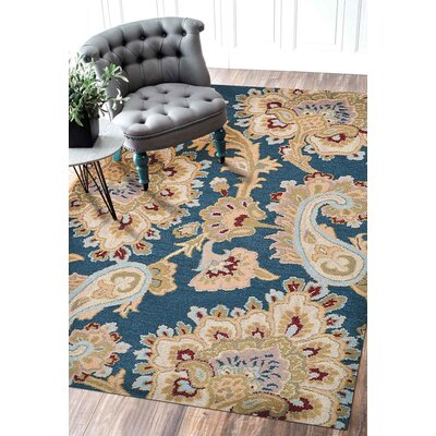 Dimondale Hand-Tufted Wool Dark Blue Area Rug Rug Size: Rectangle 9 x 12