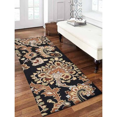 Ashly Hand-Tufted Wool Black Area Rug Rug Size: Runner 26 x 8