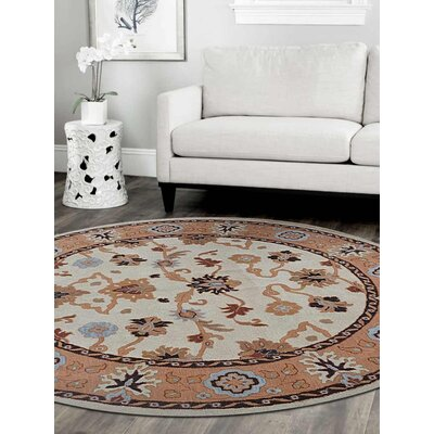 Adamsville Vintage Hand-Tufted Wool Cream/Brown Area Rug Rug Size: Round 8