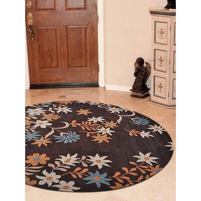 Karli Hand-Tufted Wool Brown Area Rug Rug Size: Round 8