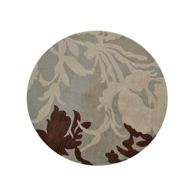 Shelbie Hand-Tufted Wool Brown/Beige Area Rug Rug Size: Round 8