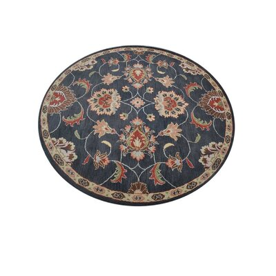 McCullom Vintage Hand-Tufted Wool Charcoal Area Rug Rug Size: Round 8