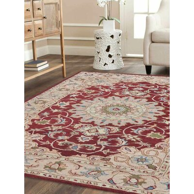 Craigmore Vintage Hand-Tufted Wool Red/Beige Area Rug