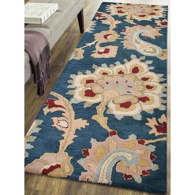 Dimondale Hand-Tufted Wool Dark Blue Area Rug Rug Size: Runner 2'6