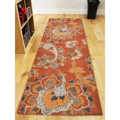 Kalyn Hand-Tufted Wool Orange Area Rug Rug Size: Runner 26 x 8