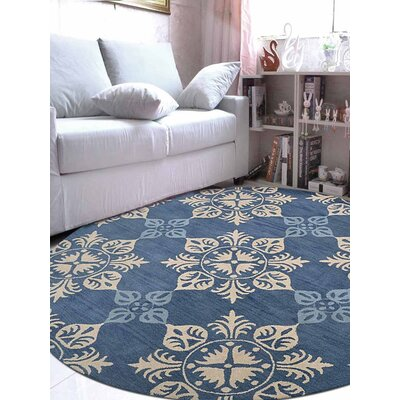 Beauchamp Square Floral Hand-Tufted Wool Blue Area Rug Rug Size: Round 8