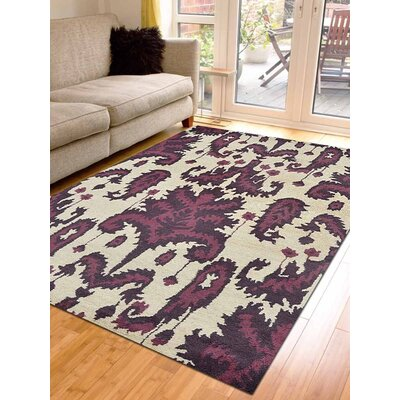 Rebeca Hand-Tufted Wool Cream/Brown Area Rug Rug Size: Rectangle 4 x 6