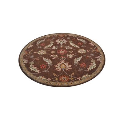 Mcandrews Vintage Hand-Tufted Wool Brown Area Rug Rug Size: Round 8