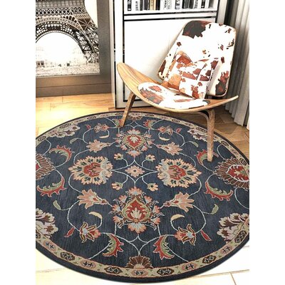 Beachmount Vintage Hand-Tufted Wool Charcoal Area Rug Rug Size: Round 8