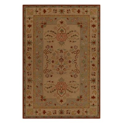 Boise Vintage Hand-Woven  Wool Cream/Green Area Rug Rug Size: Rectangle�5' x 8'