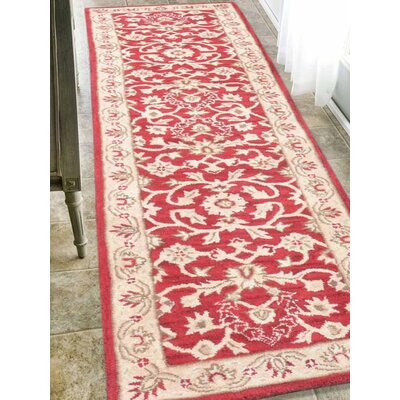 Crawford Hand-Tufted Wool Red/Gold Area Rug Rug Size: Runner 26 x 10