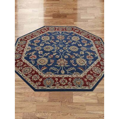 Toddington Vintage Hand-Tufted Wool Blue/Dark Red Area Rug
