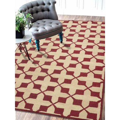 Binghampton Geometric Hand-Tufted Wool Beige/Red Area Rug