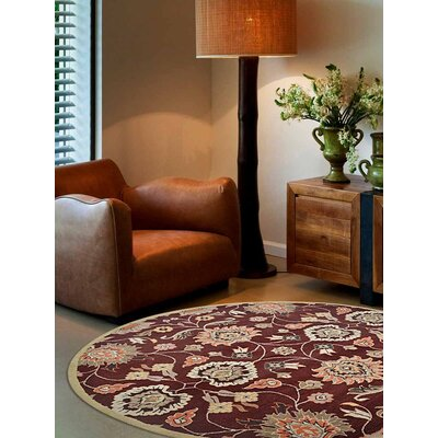 Ansonia Vintage Hand-Tufted Wool Maroon Area Rug Rug Size: Round 8