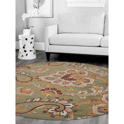 Addingrove Floral Hand-Tufted Wool Green Area Rug Rug Size: Round 8