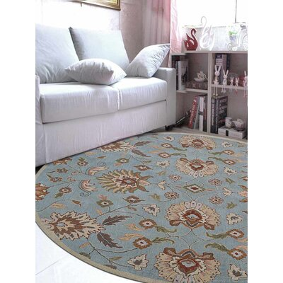Kiley Hand-Tufted Wool Light Blue Area Rug Rug Size: Round 26 x 8