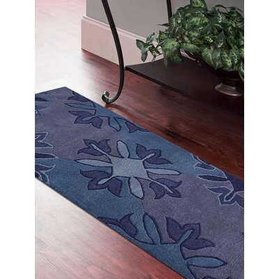 Kala Floral Hand-Tufted Wool Blue Area Rug Rug Size: Runner 26 x 10