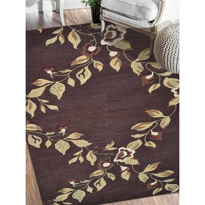 Londonshire Floral Hand-Tufted Wool Brown Area Rug Rug Size: Rectangle 9' x 12'