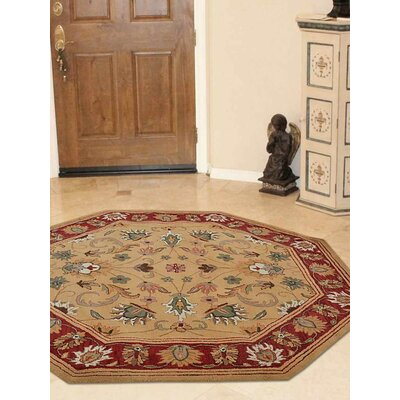Billingsley Vintage Hand-Tufted Wool Gold/Red Area Rug Rug Size: Octagon 8 x 8
