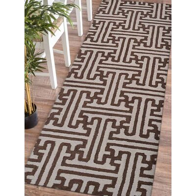 Aristomache Hand-Tufted Wool Cream/Brown Area Rug Rug Size: Runner 26 x 8