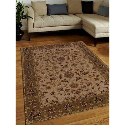 Crenshaw Hand-Tufted Wool Cream/Green Area Rug Rug Size: 6 x 9
