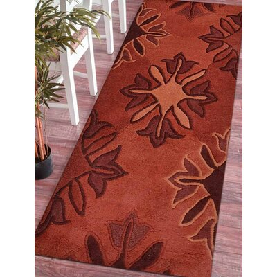 Halie Hand-Tufted Wool Red Area Rug