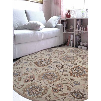 Karlie Hand-Tufted Wool Cream Area Rug Rug Size: Round 8