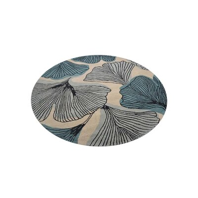 Catlin Hand-Tufted Wool Cream/Blue Area Rug Rug Size: Round 8