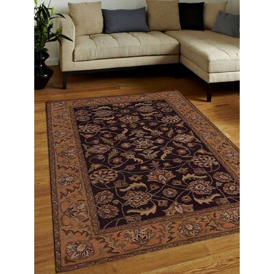 Biloxi Vintage Hand-Tufted Wool Brown/Gold Area Rug Rug Size: 5 x 8