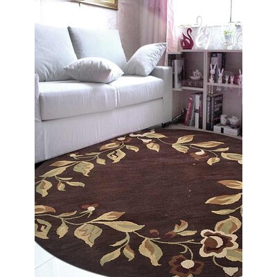 Londonshire Floral Hand-Tufted Wool Brown Area Rug Rug Size: Round 8