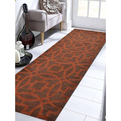 Bradford Hand-Woven Wool Brown/Orange Area Rug Rug Size: Runner 26 x 8