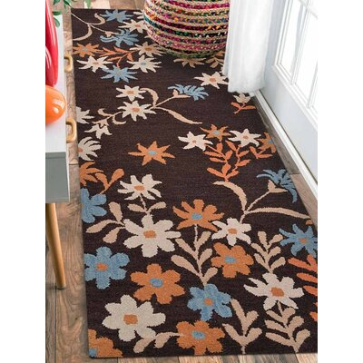 Karli Hand-Tufted Wool Brown Area Rug Rug Size: Runner 26 x 8