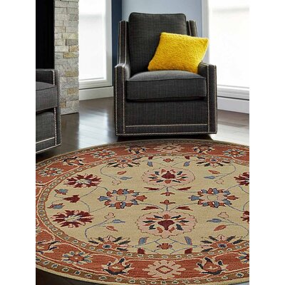 Beallsville Vintage Hand-Tufted Wool Gold/Rust Area Rug Rug Size: Round 6