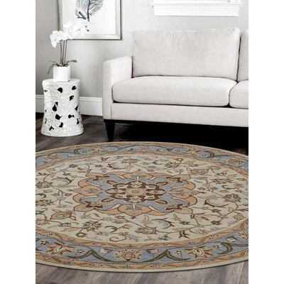 Cormiers Hand-Woven Wool Cream/Light Blue Area Rug Rug Size: Round 6'