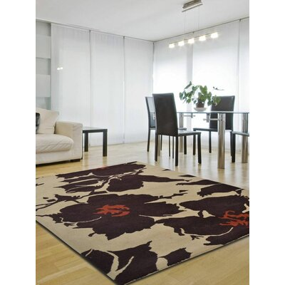 Annabelle Floral Hand-Tufted Wool Cream/Brown Area Rug Rug Size: Square 6
