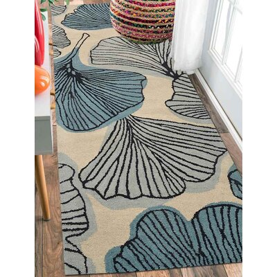 Ronnie Hand-Tufted Wool Cream/Blue Area Rug Rug Size: Runner 2 6 x 8