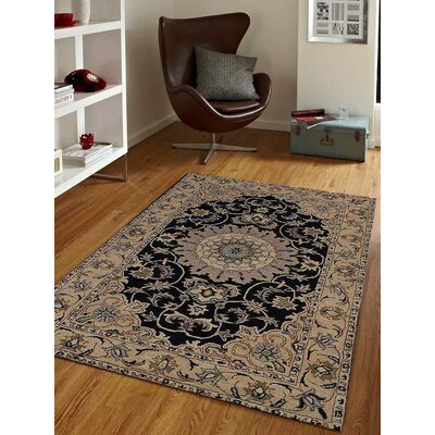 Acton Vintage Hand-Tufted Wool Black/Brown Area Rug
