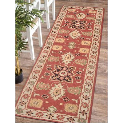 Racheal Hand-Tufted Wool Red/Beige Area Rug Rug Size: Runner 26 x 10