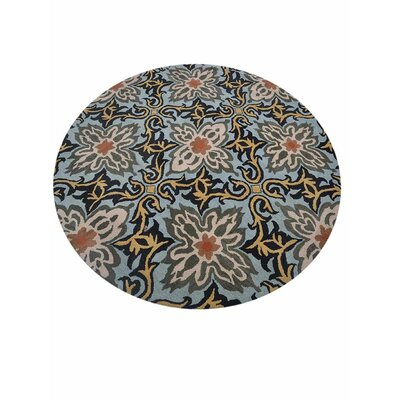 Morell Hand-Tufted Wool Blue Area Rug Rug Size: Round 8