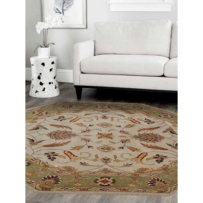 Crenshaw Hand-Tufted Wool Cream/Green Area Rug Rug Size: Octagon 8 x 8