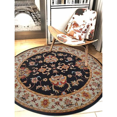 Thor Vintage Hand-Tufted Wool Black/Cream Area Rug Rug Size: Round 8 x 8