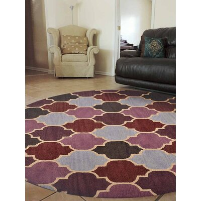 Bolton Hand-Woven Wool Brown/Purple Area Rug Rug Size: Round 8'