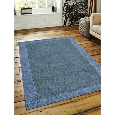 Karlee Hand-Tufted Greenish Wool Blue/Light Blue Area Rug