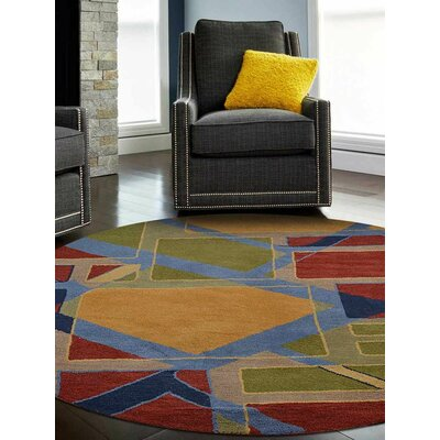 Annika Geometric Hand-Tufted Wool Red/Green Area Rug