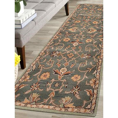 Beaconcrest Vintage Hand-Tufted Wool Green Area Rug Rug Size: Runner 26 x 8