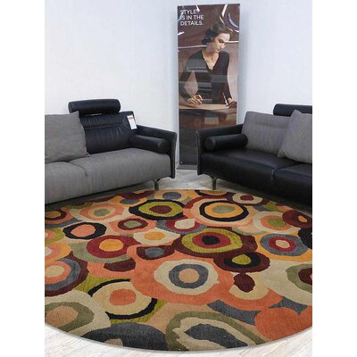 Jalisa Hand-Tufted Wool Green/Red/Orange Area Rug Rug Size: Round 8